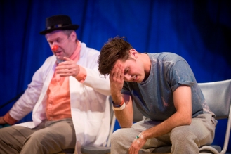 Dean Bone (and Phil Corbitt, background) in Rendezvous (Currently Under Construction by Laura Lindow) at Live Theatre