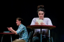 Lauren Kellegher (and Dean Bone, Background) in Rendezvous (Words With Love) by Nina Berry)at Live Theatre